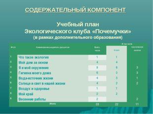 Учебный план Экологического клуба «Почемучки» (в рамках дополнительного образ