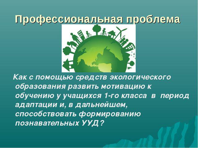 Профессиональная проблема Как с помощью средств экологического образования ра...