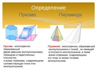 Определение Призма Пирамида Призма - многогранник, образованный двумя равными