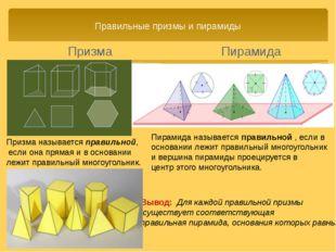 Правильные призмы и пирамиды Пирамида Вывод: Для каждой правильной призмы сущ