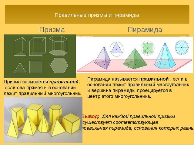 Правильные призмы и пирамиды Пирамида Вывод: Для каждой правильной призмы сущ...
