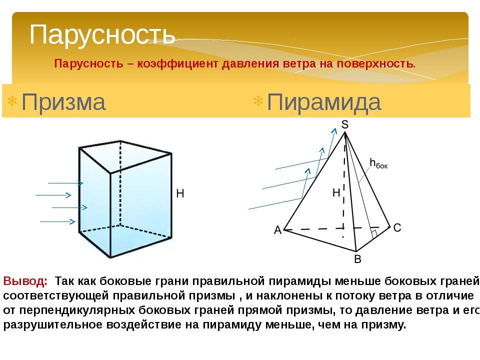 Призма Пирамида H Вывод: Так как боковые грани правильной пирамиды меньше бок...