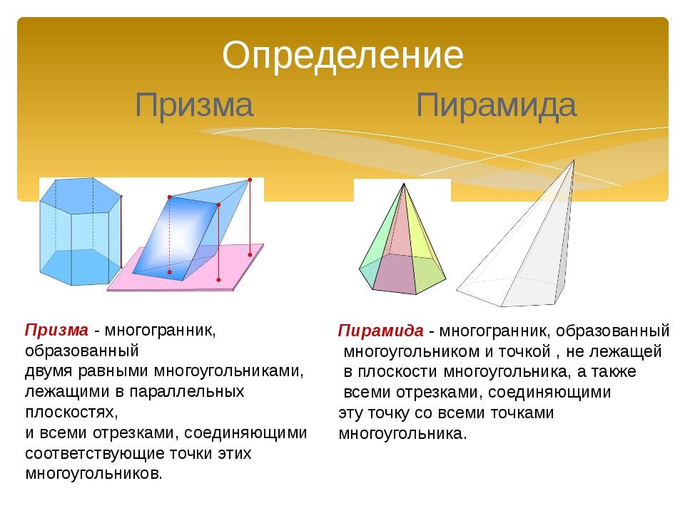 Определение Призма Пирамида Призма - многогранник, образованный двумя равными...