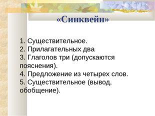 «Синквейн» 1. Существительное. 2. Прилагательных два 3. Глаголов три (допуск