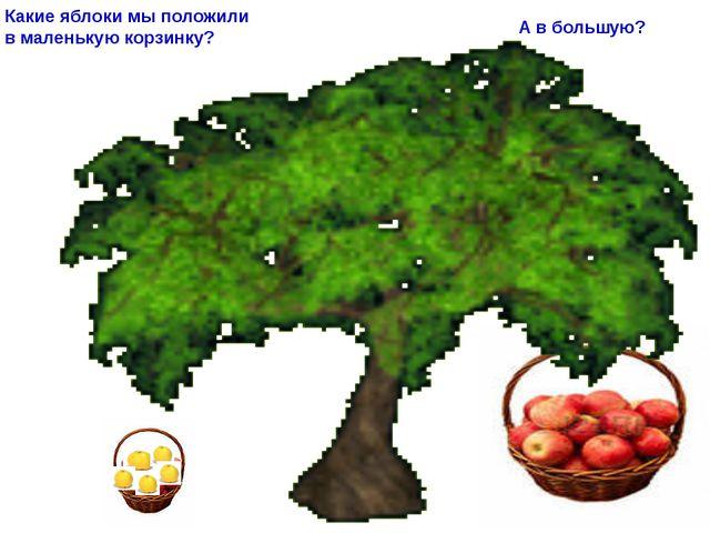 Какие яблоки мы положили в маленькую корзинку? А в большую?