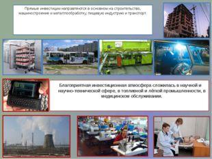 Прямые инвестиции направляются в основном на строительство, машиностроение и