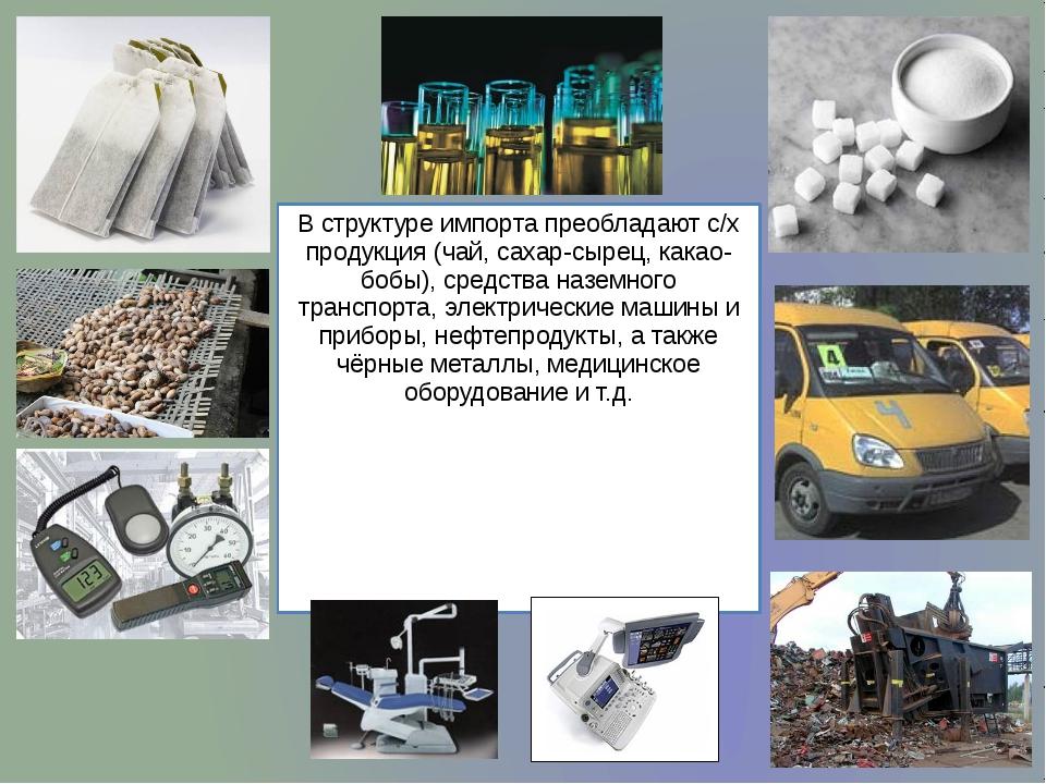 В структуре импорта преобладают с/х продукция (чай, сахар-сырец, какао-бобы),...