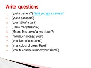 (you/ a camera?) Have you got a camera? (you/ a passport?) (your father/ a ca