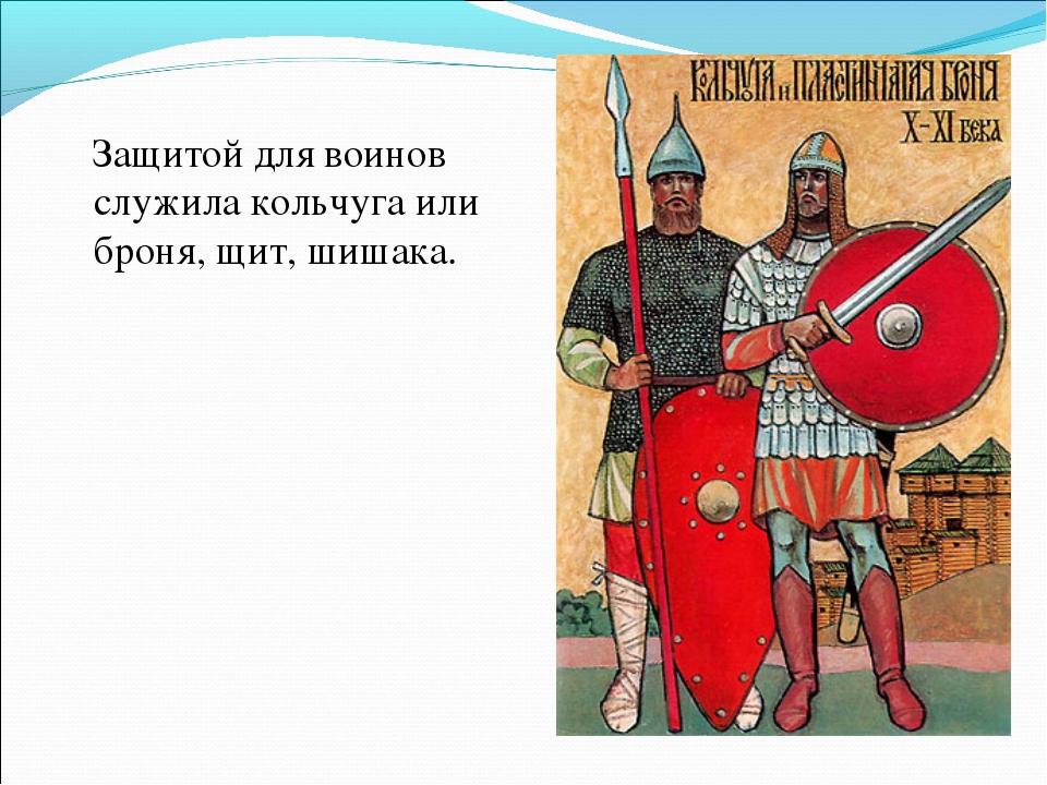 Защитой для воинов служила кольчуга или броня, щит, шишака.