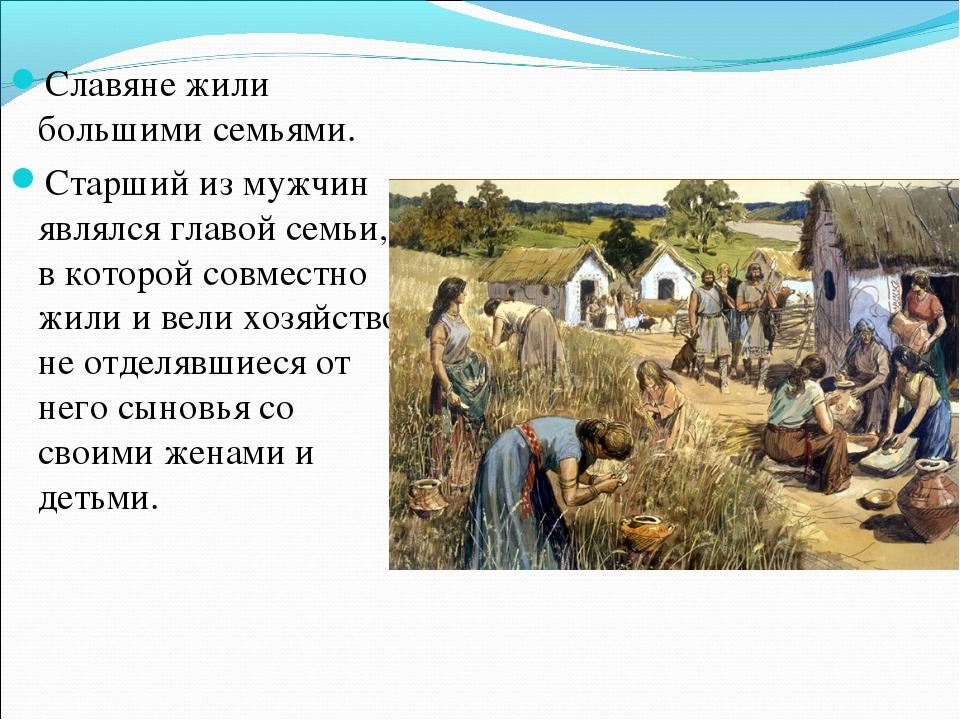 Славяне жили большими семьями. Старший из мужчин являлся главой семьи, в кот...