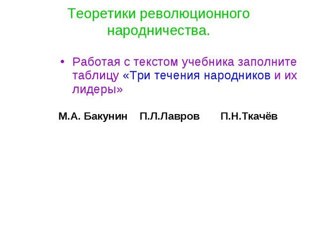 Теоретики революционного народничества. Работая с текстом учебника заполните...