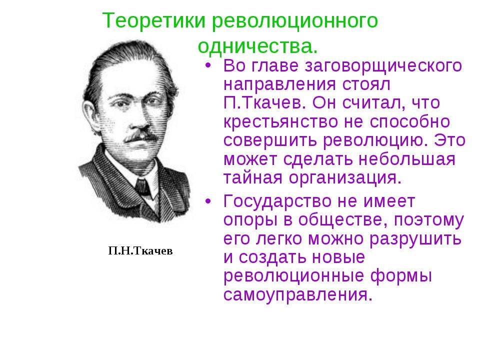 Теоретики революционного народничества. Во главе заговорщического направления...
