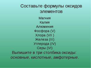 Составьте формулы оксидов элементов Магния Калия Алюминия Фосфора (V) Хлора (
