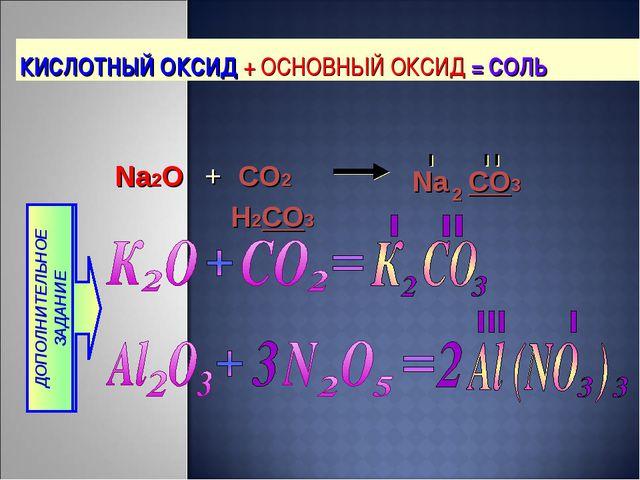 КИСЛОТНЫЙ ОКСИД + ОСНОВНЫЙ ОКСИД = СОЛЬ H2CO3 Na CO3 2