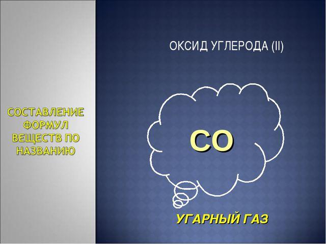 ОКСИД УГЛЕРОДА (II) УГАРНЫЙ ГАЗ CO