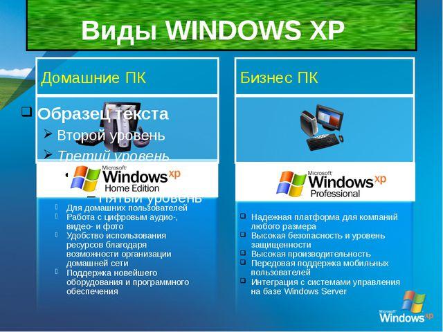 Виды WINDOWS XP Для домашних пользователей Работа с цифровым аудио-, видео-...