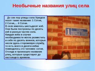 Необычные названия улиц села До сих пор улицы села Урицкое носят такие назван
