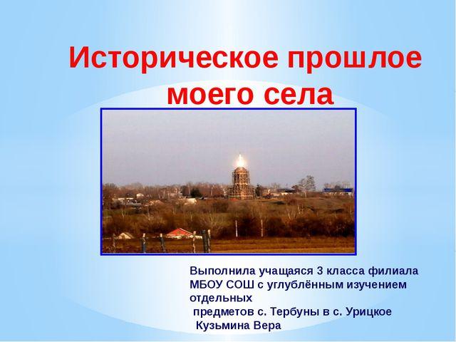 Историческое прошлое моего села Выполнила учащаяся 3 класса филиала МБОУ СОШ...