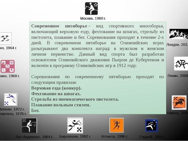 Современное пятиборье– вид спортивного многоборья, включающий верховую езду,...