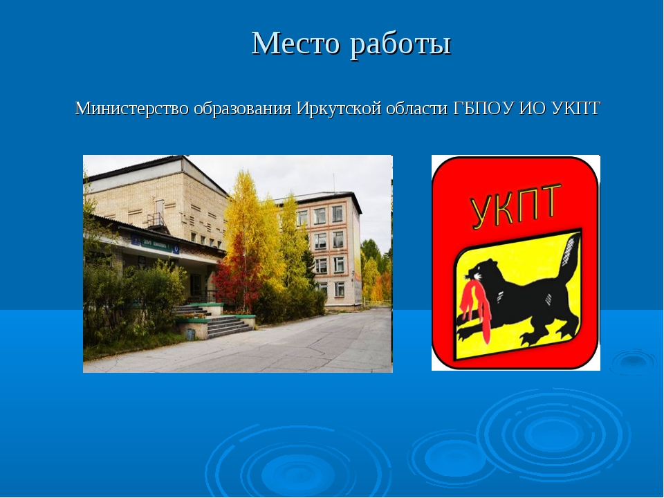 Место работы Министерство образования Иркутской области ГБПОУ ИО УКПТ