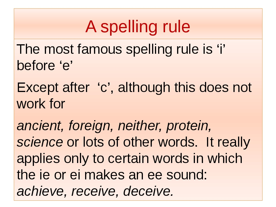 A spelling rule The most famous spelling rule is 'i' before 'e' Except after...