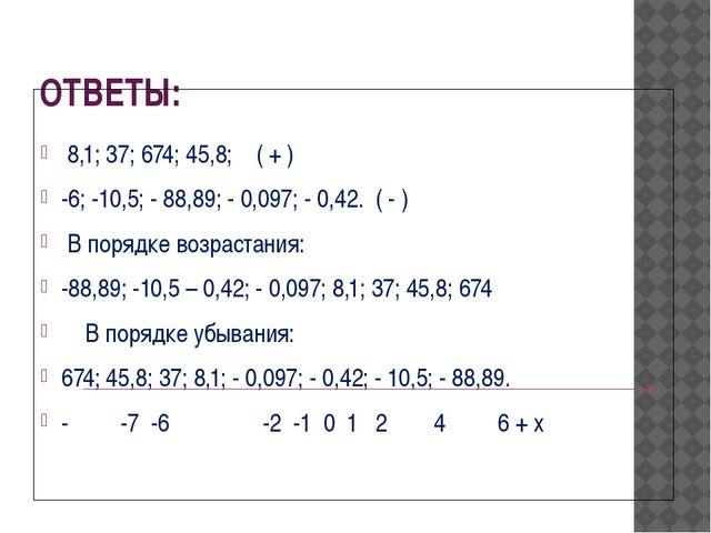 ОТВЕТЫ: 8,1; 37; 674; 45,8; ( + ) -6; -10,5; - 88,89; - 0,097; - 0,42. ( - )...