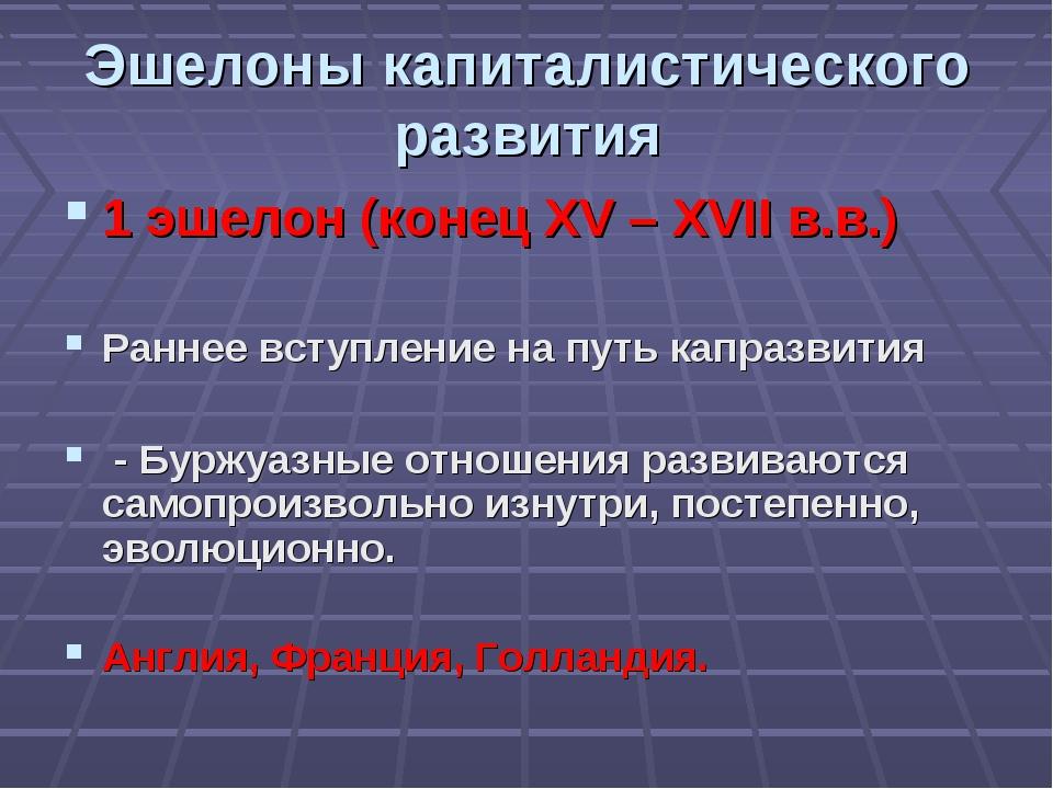 Эшелоны капиталистического развития 1 эшелон (конец XV – XVII в.в.)  Раннее...