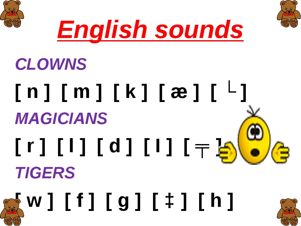 English sounds CLOWNS [ n ] [ m ] [ k ] [ æ ] [ ʌ ] MAGICIANS [ r ] [ l ] [ d...