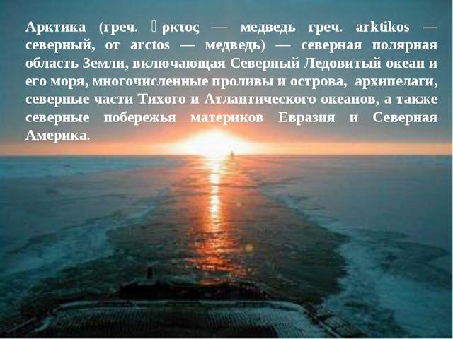 Арктика (греч. ἄρκτος — медведь греч. arktikos — северный, от arctos — медвед...