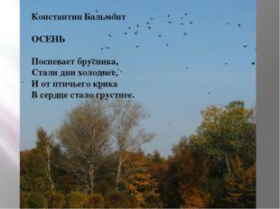 Константин Бальмонт ОСЕНЬ Поспевает брусника, Стали дни холоднее, И от птичье