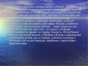 Основные наркотики, которые бытуют в России, растительного происхождения, их