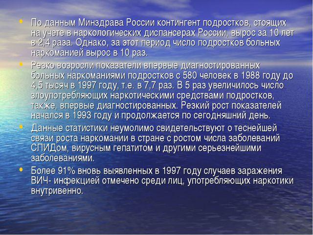 По данным Минздрава России контингент подростков, стоящих на учете в нарколог...