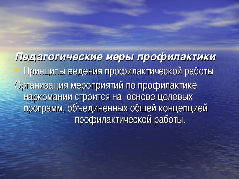 Педагогические меры профилактики Принципы ведения профилактической работы Орг...