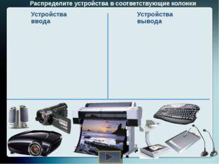 Распределите устройства в соответствующие колонки Устройства ввода Устройства