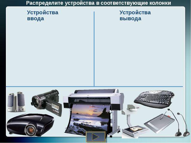 Распределите устройства в соответствующие колонки Устройства ввода Устройства...