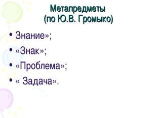 Метапредметы (по Ю.В. Громыко) Знание»; «Знак»; «Проблема»; « Задача».