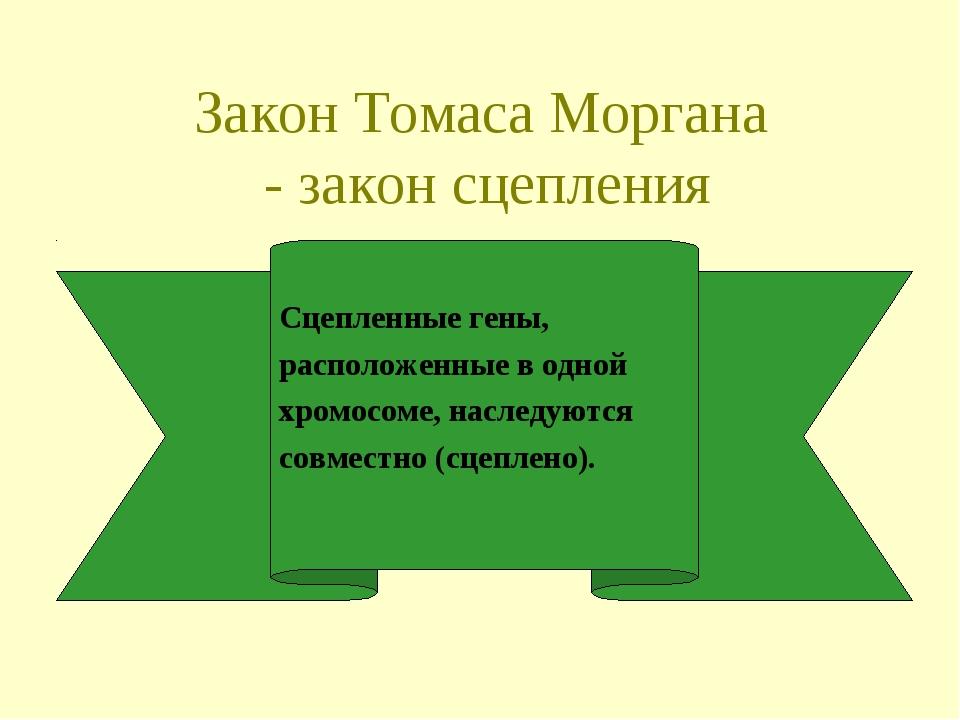 Закон Томаса Моргана - закон сцепления Сцепленные гены, расположенные в одной...
