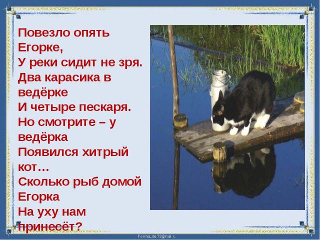 Повезло опять Егорке, У реки сидит не зря. Два карасика в ведёрке И четыре п...