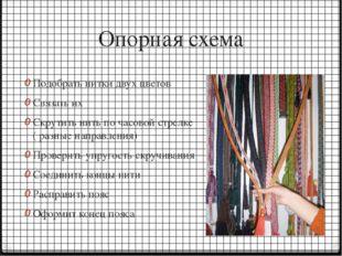 Опорная схема Подобрать нитки двух цветов Связать их Скрутить нить по часовой
