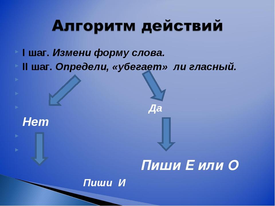 I шаг. Измени форму слова. II шаг. Определи, «убегает» ли гласный.  ...
