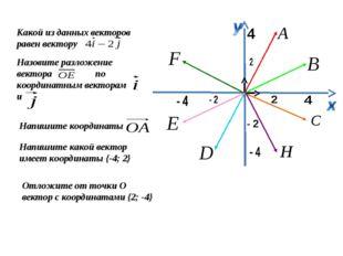 Какой из данных векторов равен вектору Назовите разложение вектора по координ