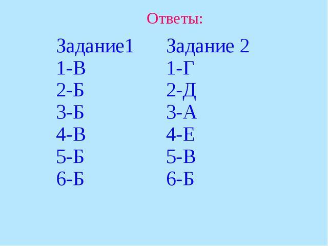 Ответы: Задание1 1-В 2-Б 3-Б 4-В 5-Б 6-БЗадание 2 1-Г 2-Д 3-А 4-Е 5-В 6-Б