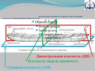 Для построения теоретического чертежа в качестве проекций используют 3 вза