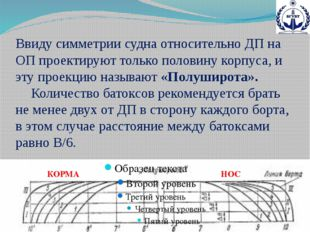 Ввиду симметрии судна относительно ДП на ОП проектируют только половину корпу