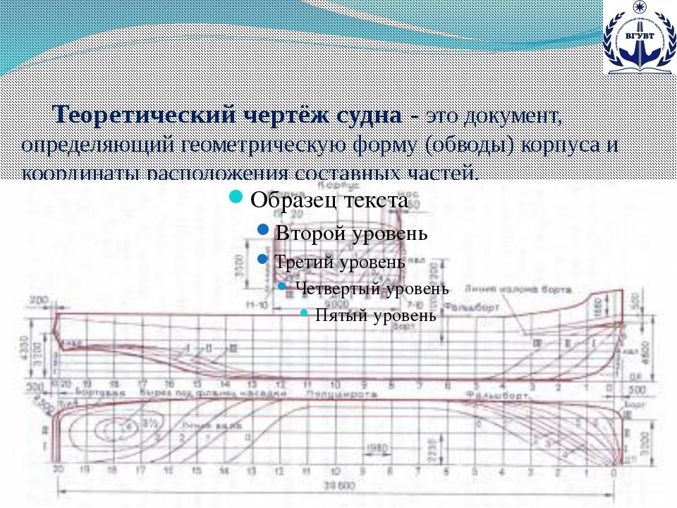 Теоретический чертёж судна - это документ, определяющий геометрическую форму...