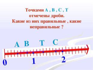 0 1 2 . . . . . . А С В Т Точками А , В , С , Т отмечены дроби. Какие из них