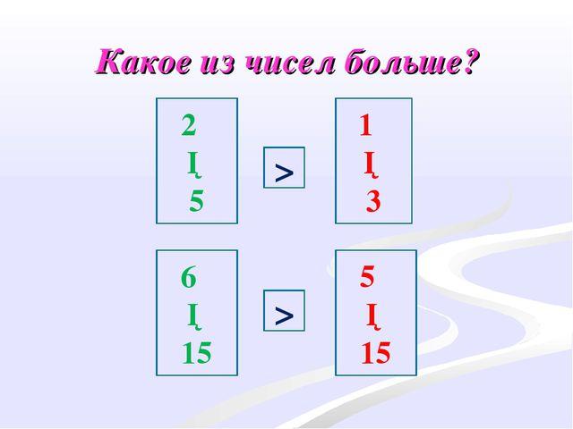 Какое из чисел больше? 2 ─ 5 1 ─ 3 6 ─ 15 5 ─ 15 > >