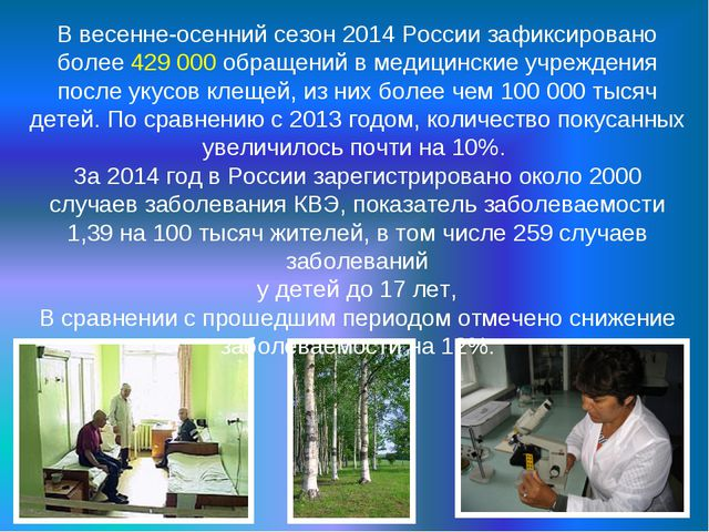 В весенне-осенний сезон 2014 России зафиксировано более 429 000 обращений в м...