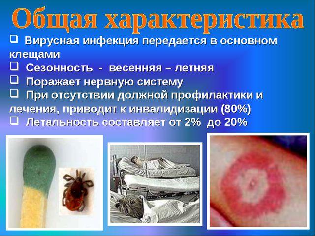 Вирусная инфекция передается в основном клещами Сезонность - весенняя – летн...