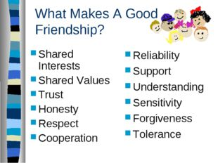 What Makes A Good Friendship? Shared Interests Shared Values Trust Honesty Re